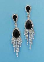"Jet/Clear Silver 2"" Dancing Row Linked Pear Stone Post Earring"