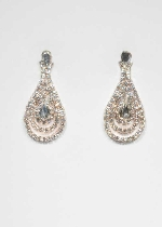 Clear/Silver Teardrop Shape Small Round Stone Earring
