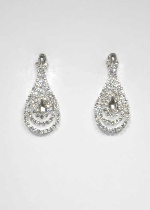 Clear/Silver Teardrop Shape Small Round Stone Post Earring