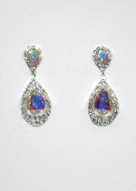 "Aurora Borealis/Clear Silver Teardrop Shape 2"" Post Earring"