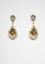 "Light Colorado/Gold Teardrop Small Round Stone 2"" Post Earring"