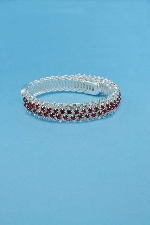 Siam Light/Clear Silver Two Rows Bangle Bracelet