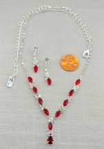 Siam/Silver Mini Marquise Stone With Pear Cut Pendant Necklace Set