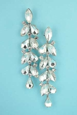 "Clear Silver Long Dangle 3"" Pear Shape & Marquise Shape Stone"