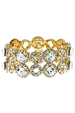 Clear/Gold 2 Row Open Circle and Round Stone Stretch Bracelet