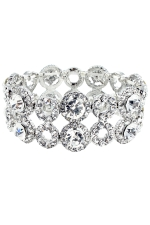 Clear/Silver 2 Row Open Circle and Round Stone Stretch Bracelet