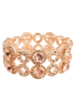 Peach/Gold 2 Row Open Circle and Round Stone Stretch Bracelet