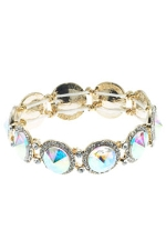 AB/Clear/Gold 1 Row Rivoli Stretchy Bracelet