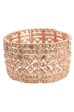 Peach/Gold Thick Classic Style Stretch Bracelet