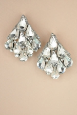 Clear Silver Pearshape Stone Cluster Post Earring