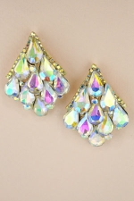 AB  Gold Pearshape Stone Cluster Post Earring