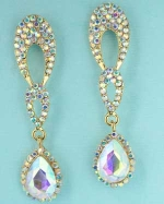 Aurora Borealis/Gold Inverted Teardrop with Pave Teardrop Posted Earring.
