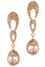Peach/Gold Inverted Teardrop with Pave Teardrop Earring