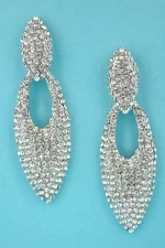 "Clear/Silver Two Marquise Shape Round Stone 2.5"" Earring"