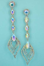 "Aurora Borealis/Silver Scorpion Tail Shape 4"" Post Dangle Earring"