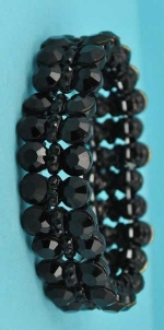 Jet/ 3 Row Round Shape Stretch Bracelet