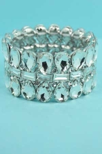 Clear/Silver 3 Row Pear/Baguette Stone Stretch Barcelet
