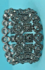 Black Diamond/Hematite 3 Row Round/Square Shape Stretch Bracelet
