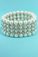 Pearl/Clear 4 Row Stretch 3 Round Stone Bracelet