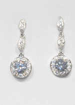Cubic Zirconia/Silver Linked Marquise/Bottom Ball Shape Earring