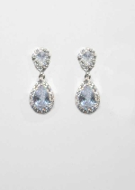Cubic Zirconia/Silver Two Linked Teardrop Shape Earring