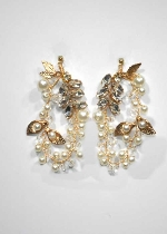Pearl/Clear Gold Leaves/Branch Shape Earring