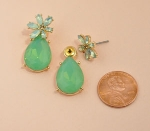 Green/Gold MoonStone Marquise Flower With Pear Dangle Post Earring