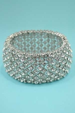 Clear Silver Multi Round Stone Stretch Bracelet