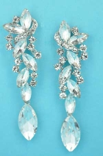 "Clear/Silver Multiple Stones Dangling Marquise Stone 3"" Earring"