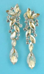 "Light Colorado/Clear Gold Multiple Stones Dangling Marquise Stone 3"" Earring"