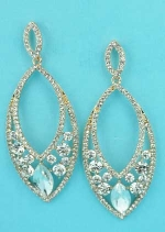 "Clear Gold Marquise Shape/Round Stone 3"" Earring"