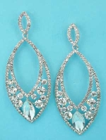 "Clear/Silver Marquise Shape/Round Stone 3"" Earring"