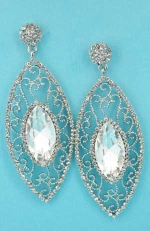 "Clear/Silver Marquise Shape/Center Framed 3"" Earring"