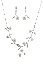 White Pearl/Clear/Silver Crystal and Pearl Vine Set