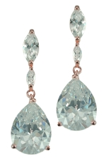 Cubic Zirconia/Rose Gold Marquis Line with Teardrop Earring