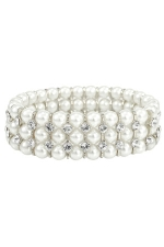 White Pearl/Clear Silver 3 Line Stretch Bracelet
