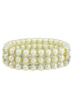 Ivory Pearl/Clear Gold 3 Line Stretch Bracelet