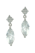 Cubic Zirconia/Silver Marquise Drop Earring