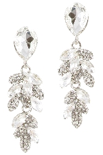 Clear/Silver Leaf Bunch Dangle Posted Earring