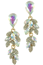 AB/Clear/Gold Leaf Bunch Dangle Posted Earring