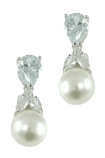 White Pearl/Clear Silver 10mm with Cubic Zirconia Top Earring