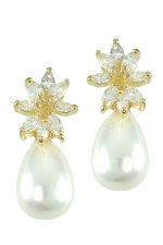 White Pearl/Gold Cubic Zirconia Flower Top with Teardrop-Shaped Pearl Earring