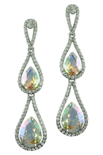 AB Clear Silver 3 Tier Teardrop with Crystal Earring