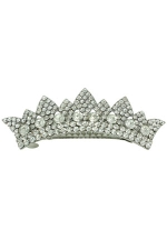 Clear Silver Crown Barrette