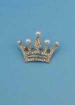 Pearl/Clear Gold Crown Shape Pin