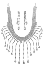 Clear/Silver Necklace Set with Long Crystal Teardrop Dangles