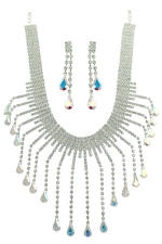 AB/Clear/Silver Necklace Set with  Long Teardrop Dangles