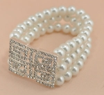 Pearl/Silver Three Row 8MM Pearl With Large Rhinestone Square Stretch Bracelet