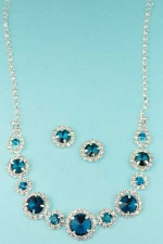 Blue Zircon/Clear Silver Multiple Rose Stone Set
