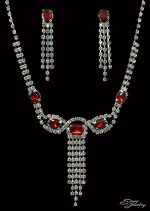 Siam Red/Clear/Silver Center Oval Stone and 5 Line Set